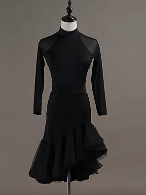 cheap Evening Dresses-Latin Dance Skirts Ruching Women's Performance Long Sleeve Natural Spandex