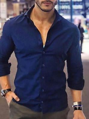 cheap Shirts-Men's Solid Colored Slim Shirt Daily Classic Collar White / Black / Blushing Pink / Navy Blue / Light Blue / Spring / Fall / Long Sleeve