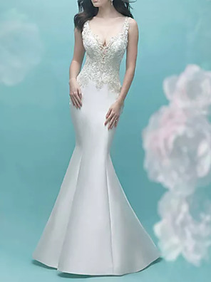 cheap Evening Dresses-Mermaid / Trumpet Wedding Dresses V Neck Court Train Lace Satin Sleeveless Casual Plus Size with Appliques 2020