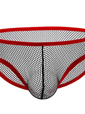 cheap Men's Exotic Underwear-Men's Mesh Briefs Underwear - Normal Low Waist Black White Yellow S M L