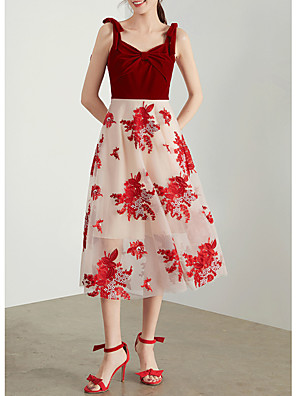 cheap Bridesmaid Dresses-A-Line Sexy Red Cocktail Party Prom Dress Spaghetti Strap Sleeveless Tea Length Chiffon Velvet with Bow(s) Pattern / Print 2020