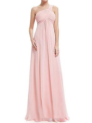 cheap Bridesmaid Dresses-A-Line One Shoulder Floor Length Chiffon Bridesmaid Dress with Tier