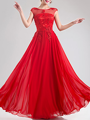 cheap Evening Dresses-A-Line Empire Red Engagement Formal Evening Dress Jewel Neck Sleeveless Floor Length Chiffon with Appliques 2020