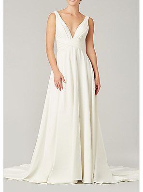 cheap Evening Dresses-A-Line Wedding Dresses V Neck Sweep / Brush Train Chiffon Sleeveless Country Plus Size with Draping 2020