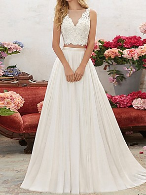 cheap Wedding Dresses-Two Piece Wedding Dresses V Neck Sweep / Brush Train Chiffon Lace Sleeveless Beach with Lace Insert Embroidery 2020