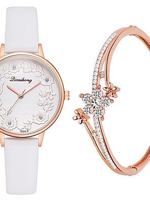 cheap Quartz Watches-Women's Quartz Watches Quartz New Arrival Chronograph PU Leather Black / White / Red Analog - White Black Blue One Year Battery Life