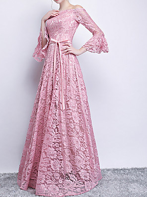 cheap Prom Dresses-A-Line Pink Spring Engagement Prom Dress Off Shoulder Long Sleeve Floor Length Polyester with Sash / Ribbon 2020