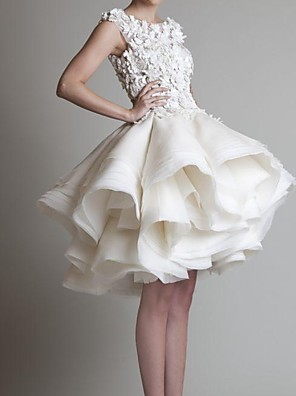 cheap Wedding Dresses-A-Line Wedding Dresses Jewel Neck Asymmetrical Polyester Sleeveless Country Little White Dress Plus Size with Appliques Cascading Ruffles 2020