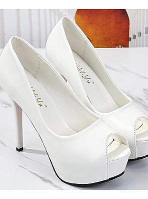 cheap Mother of the Bride Dresses-Women's Heels Stiletto Heel Peep Toe PU Spring & Summer Black / White / Pink