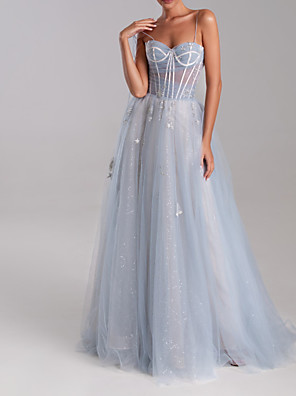 cheap Evening Dresses-A-Line Luxurious Engagement Formal Evening Dress Sweetheart Neckline Sleeveless Sweep / Brush Train Tulle with Appliques 2020