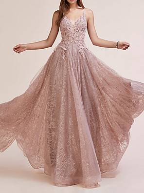 cheap Prom Dresses-A-Line Sparkle Engagement Prom Dress V Neck Sleeveless Floor Length Lace with Sequin Appliques 2020