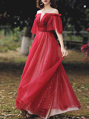 cheap Evening Dresses-A-Line Glittering Red Party Wear Prom Dress Illusion Neck Half Sleeve Floor Length Tulle with Beading Sequin 2020