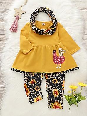 povoljno Kompletići za bebe-Dijete Djevojčice Osnovni Cvjetni print Dugih rukava Regularna Komplet odjeće Bijela