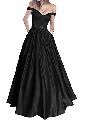 cheap Prom Dresses-A-Line Wedding Dresses Off Shoulder Floor Length Polyester Short Sleeve Formal Plus Size Black with Draping 2020