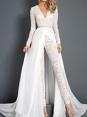 cheap Wedding Dresses-Jumpsuits Wedding Dresses Plunging Neck Sweep / Brush Train Polyester Long Sleeve Country Plus Size with Sashes / Ribbons Lace Insert Appliques 2020