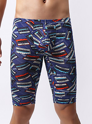 cheap Men's Exotic Underwear-Men's Print Boxers Underwear - Normal Mid Waist Blue S M L