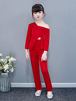 cheap Girls' Dresses-Pantsuit / Jumpsuit Chapel Train Wedding / Party Pageant Dresses - Polyester / Cotton Blend Long Sleeve One Shoulder with Solid