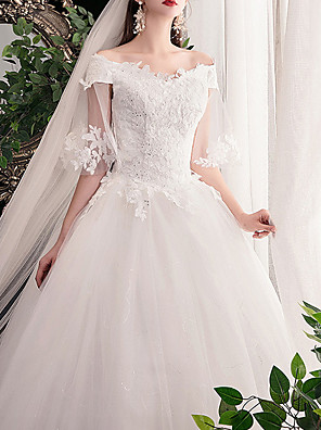 cheap Wedding Dresses-Ball Gown Wedding Dresses Off Shoulder Sweep / Brush Train Lace Short Sleeve Formal See-Through Plus Size with Lace Insert Appliques 2020
