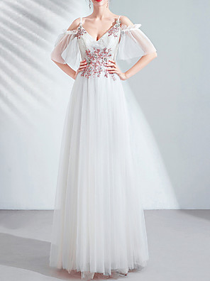 cheap Cocktail Dresses-A-Line Jewel Neck Floor Length Lace / Tulle Bridesmaid Dress with Beading / Appliques / Crystals
