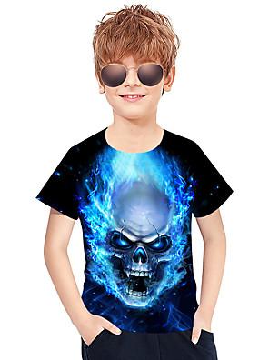 cheap Boys' Tops-Kids Boys' Active Punk & Gothic Color Block 3D Plaid Short Sleeve Tee Blue