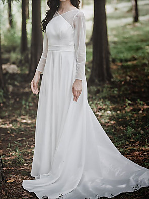cheap Wedding Wraps-A-Line Wedding Dresses V Neck Court Train Chiffon Satin Long Sleeve Simple Elegant with Buttons 2020 / Illusion Sleeve