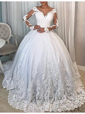 cheap Wedding Dresses-Ball Gown V Neck Watteau Train Polyester / Lace Long Sleeve Formal Plus Size / Illusion Sleeve Wedding Dresses with Draping / Lace Insert / Appliques 2020
