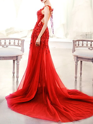 cheap Evening Dresses-Mermaid / Trumpet Beautiful Back Red Engagement Formal Evening Dress Illusion Neck Sleeveless Court Train Polyester with Beading Appliques 2020