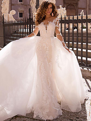 cheap Wedding Dresses-Mermaid / Trumpet Wedding Dresses V Neck Court Train Lace Long Sleeve Formal Romantic Casual Modern Detachable Illusion Sleeve with 2020