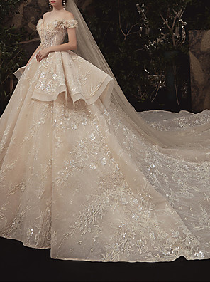 cheap Wedding Dresses-Ball Gown Wedding Dresses Off Shoulder Watteau Train Lace Short Sleeve Formal Romantic Wedding Dress in Color with Lace Insert 2020