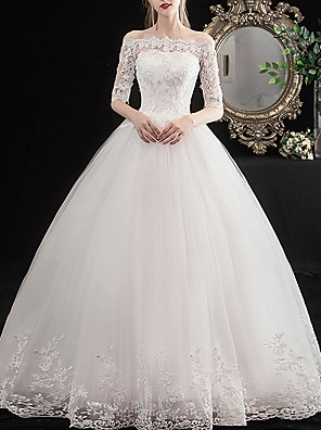 cheap Wedding Dresses-Ball Gown Wedding Dresses Off Shoulder Floor Length Lace Half Sleeve Vintage Illusion Sleeve with Lace Insert Embroidery 2020
