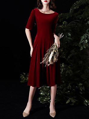 cheap Prom Dresses-A-Line Minimalist Red Cocktail Party Prom Dress Jewel Neck Half Sleeve Knee Length Velvet with Pleats 2020
