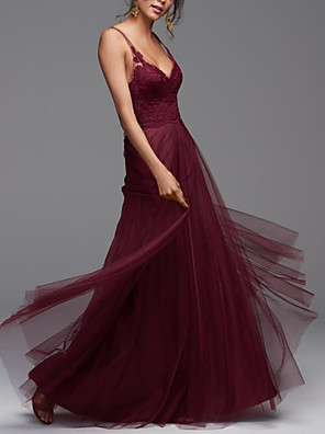 cheap Prom Dresses-A-Line Sexy Red Engagement Prom Dress V Neck Sleeveless Floor Length Tulle with Pleats Appliques 2020
