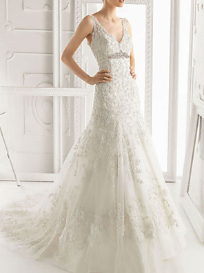 cheap Evening Dresses-A-Line Wedding Dresses V Neck Sweep / Brush Train Lace Sleeveless Formal with Lace Insert 2020