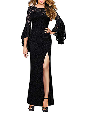 cheap Wedding Dresses-Sheath / Column Wedding Dresses Jewel Neck Floor Length Polyester 3/4 Length Sleeve Formal Plus Size Black with Draping Split Front 2020