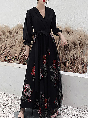 cheap Evening Dresses-A-Line Floral Prom Formal Evening Dress V Neck 3/4 Length Sleeve Floor Length Spandex Tulle with Sash / Ribbon Embroidery 2020