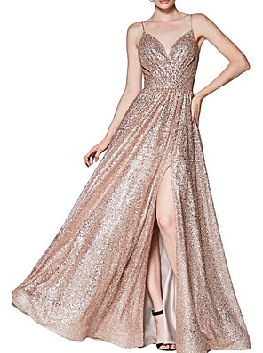 cheap Evening Dresses-A-Line Sparkle Gold Engagement Prom Dress V Neck Spaghetti Strap Sleeveless Floor Length Sequined with Sequin Split 2020