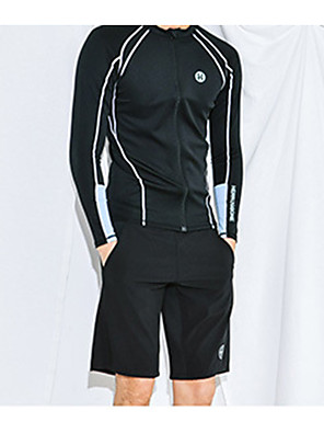 cheap Athletic Swimwear-Men's Rash Guard Dive Skin Suit Diving Suit Anatomic Design Full Body Front Zip 3-Piece - Diving Water Sports Solid Colored Summer / Micro-elastic