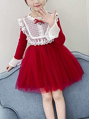 cheap Girls' Dresses-Kids Girls' Cute Red Color Block Jacquard Lace Ruched Patchwork Long Sleeve Above Knee Dress Red