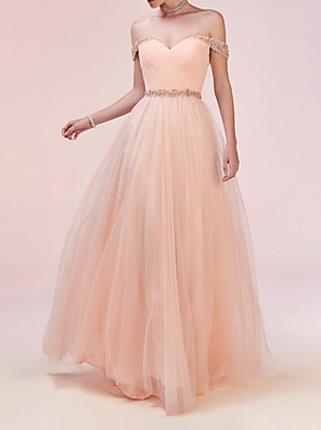 cheap Prom Dresses-A-Line Elegant Pink Engagement Prom Dress Sweetheart Neckline Sleeveless Sweep / Brush Train Tulle with Crystals Beading Sequin 2020