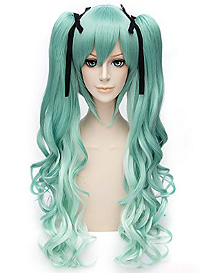 cheap Plus Size Dresses-Cosplay Hashibira Inosuke Cosplay Wigs Women's With 2 Ponytails 28 inch Heat Resistant Fiber Curly Green Adults' Anime Wig