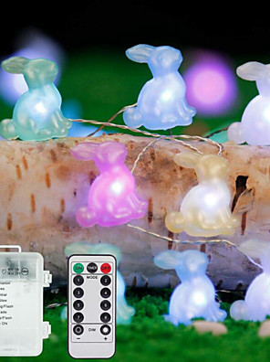 cheap Evening Dresses-3M 30Leds Easter Rabbit Shape String Light Bunny Lamp Battery Operated Lighting Home Party Decoration Easter Festival Supplies