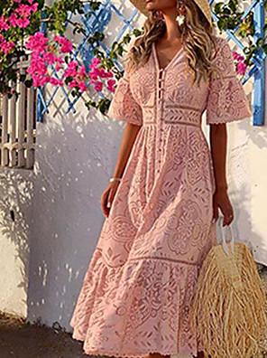 baratos Vestidos Longos-Mulheres Sheath Dress Maxi Vestido - Meia Manga Côr Sólida Decote V Branco Rosa S M L XL XXL