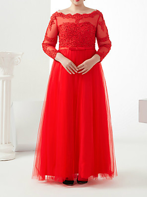 cheap Prom Dresses-A-Line Plus Size Red Engagement Formal Evening Dress Off Shoulder 3/4 Length Sleeve Floor Length Satin Tulle with Sash / Ribbon Beading Appliques 2020 / Illusion Sleeve