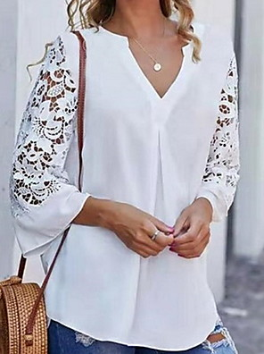 cheap Women's Blouses & Shirts-Women's Blouse Solid Colored 3/4 Length Sleeve Tops V Neck White Black Blue