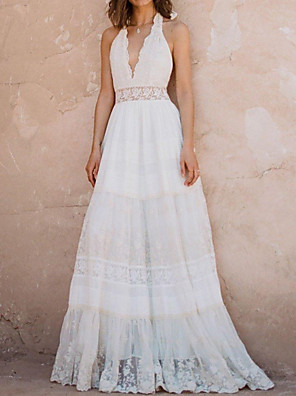 cheap Wedding Dresses-A-Line Wedding Dresses Halter Neck Sweep / Brush Train Polyester Sleeveless Country Plus Size with Lace Insert Appliques 2020