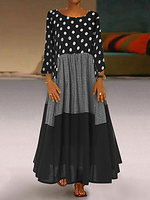 cheap Maxi Dresses-Women's Plus Size Maxi A Line Dress - Long Sleeve Polka Dot Patchwork Print Spring Fall Casual Holiday Vacation Loose 2020 Black Red Yellow M L XL XXL XXXL XXXXL XXXXXL