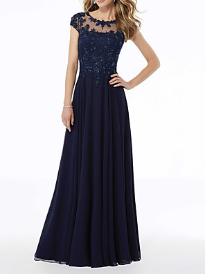 cheap Prom Dresses-A-Line Elegant Blue Party Wear Formal Evening Dress Illusion Neck Sleeveless Floor Length Chiffon with Pleats Beading Appliques 2020