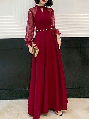 cheap Party Dresses-A-Line Hot Red Prom Formal Evening Dress Jewel Neck Long Sleeve Floor Length Spandex with Beading Sequin 2020