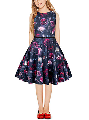 cheap Girls' Dresses-Kids Girls' Vintage Cute Floral Color Block Patchwork Print Sleeveless Above Knee Dress Black