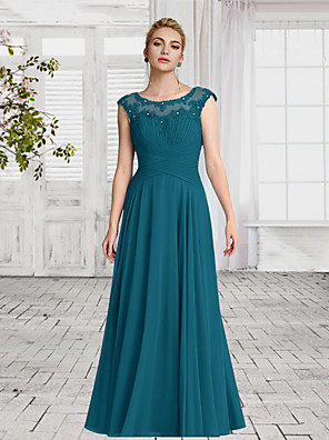 cheap Evening Dresses-A-Line Empire Turquoise / Teal Wedding Guest Formal Evening Dress Jewel Neck Sleeveless Floor Length Chiffon with Ruched Crystals 2020